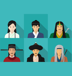 avatar of chinese people in flat style art vector image
