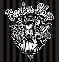 barbeque monochrome badge with barber and vector image