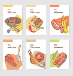 bbq and grill hand drawn cards brochure menu vector image