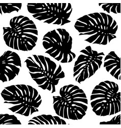 black and white monstera tropical leaf pattern vector image
