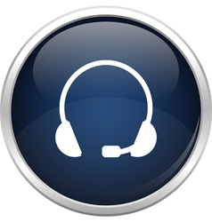 Blue headset icon vector image