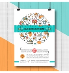 Business seminar poster templates A4 size line vector