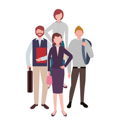 Businessmen and women standing teamwork characters vector