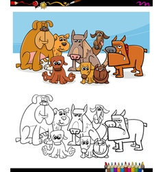 cartoon dogs coloring page vector image