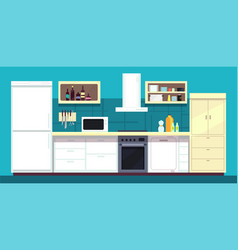 cartoon kitchen interior with fridge oven and vector image