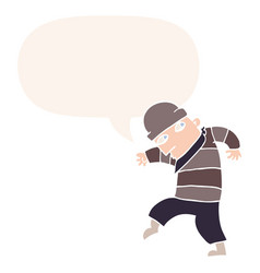 Cartoon sneaking thief and speech bubble in retro vector
