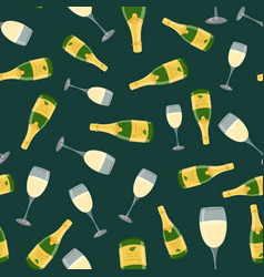 champagne bottle glass seamless pattern vector image