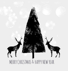 christmas tree stamp deer vector image