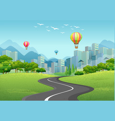 City with tall buildings and balloons vector