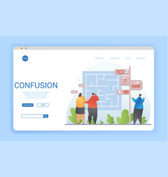 Confusion concept in a website landing page design vector