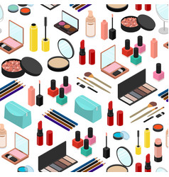 cosmetic products seamless pattern background vector image