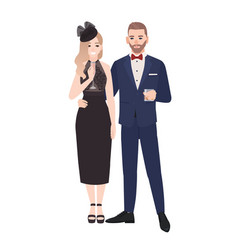 couple in elegant evening clothes standing vector image