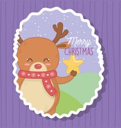 cute bear holding star merry christmas vector image