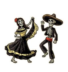 day dead dia de los muertos skeleton vector image