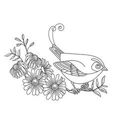 decorative cute bird with flowers vector image