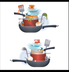 Dirty and clean dishes plates and pans kitchen vector