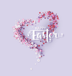easter background with frame flowers vector image