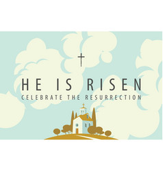 easter banner with a church on a hill sky and vector image