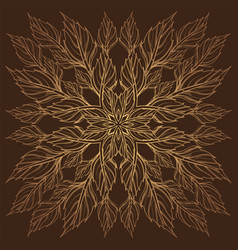Elegant golden round frame of stylized leaves vector