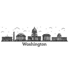 Engraved washington dc usa city skyline with vector