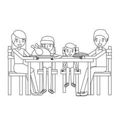 Family smiling gathered sitting for dinner vector