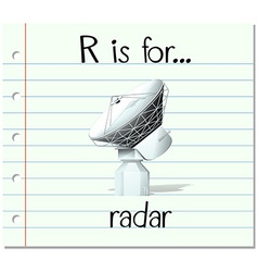 Flashcard letter r is for radar vector
