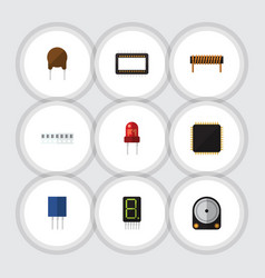 flat icon appliance set of display hdd bobbin vector image