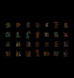 Folk ethnic dance icons collection for your vector
