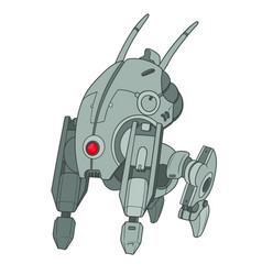 Four legged robot with one red eye vector