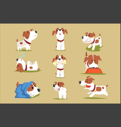 Funny puppy daily routine set cute little dog in vector