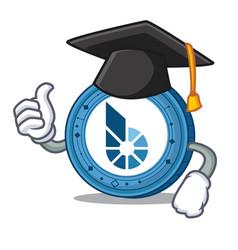 Graduation bitshares coin character cartoon vector