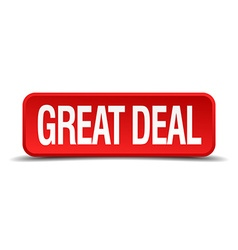 great deal red 3d square button on white vector image