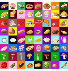Great set of various food 64 objects vector