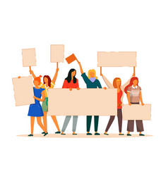 Group woman protester with placard on white vector