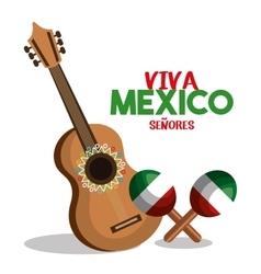 guitat and maraca flag mexico design vector image