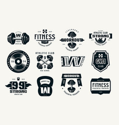 Gym club fitness and workout badges and logo vector
