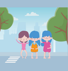 Happy childrens day cute group little girls in vector
