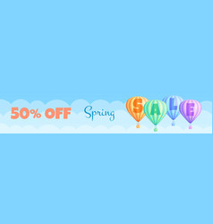 hot air balloon sale travel discount offer banner vector image