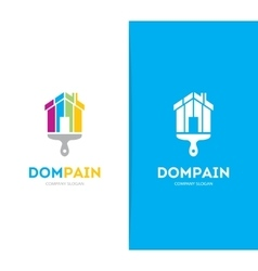 House and brush logo combination Real vector