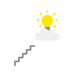 icon concept of glowing light bulb on cloud with vector image