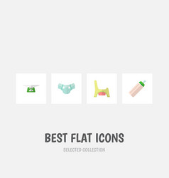 icon flat kid set of baby bottle diaper child vector image