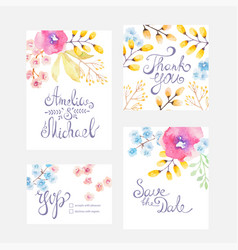 Invitation card with watercolor flowers for vector