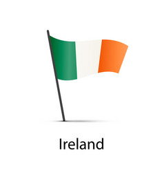 ireland flag on pole infographic element on white vector image