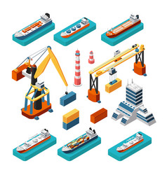 Isometric 3d ships cranes sea port building vector