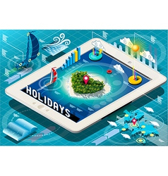 Isometric Holidays Infographic on Tablet vector