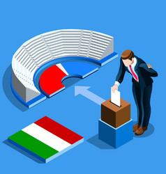 Italy election italian people vote at isometric vector