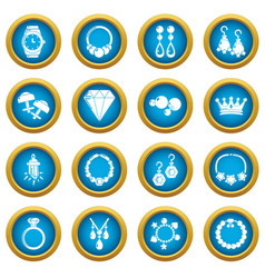 Jewelry shop icons set simple style vector