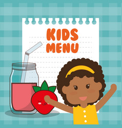Kids menu girl juice nutrition vector
