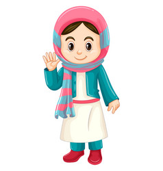 Kuwait girl in traditional costume vector