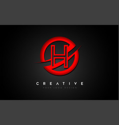 Letter h logo with a red circle swoosh design vector
